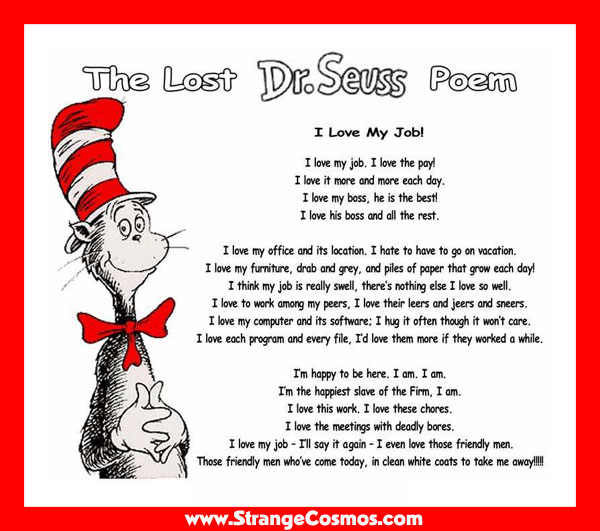I Love My Job Poem Dr. Seuss